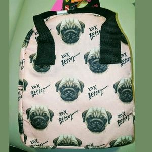 Betsey Johnson PUG Pink Insulated Lunch Bag Tote N